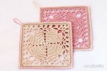 Crochet hearts coasters by Anabelia 4