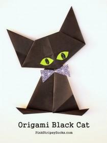 1 origami black cat