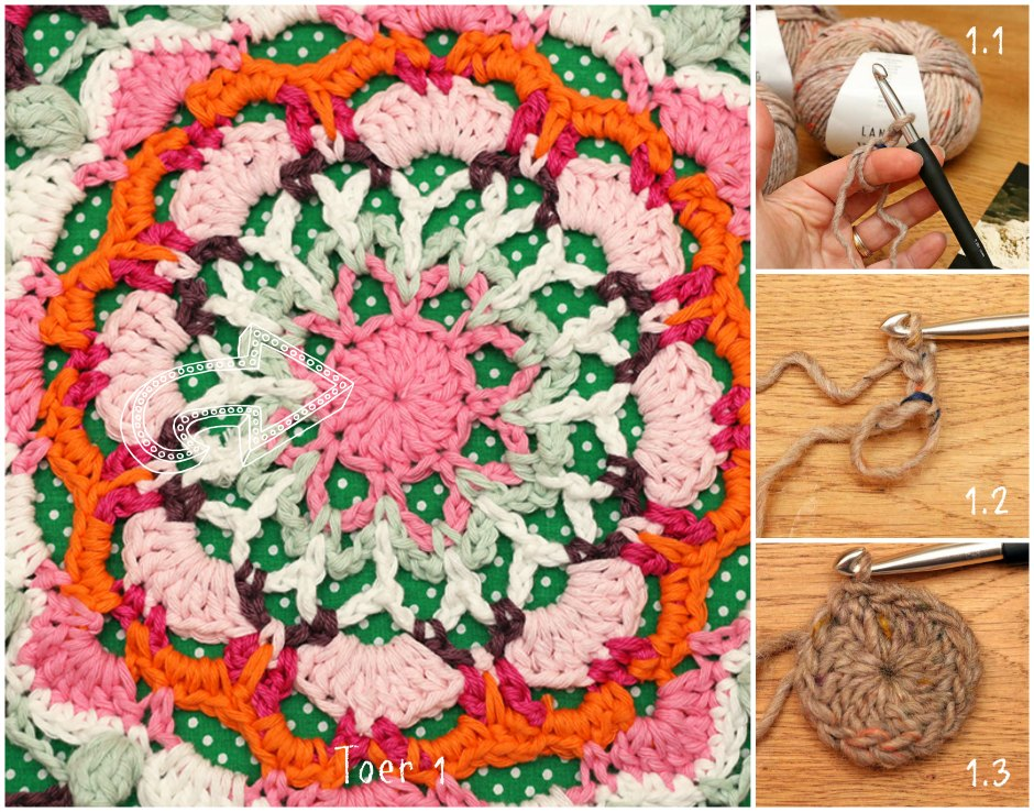 Haakpatroon poef doily Jip by Jan