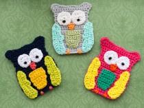 Drei gehäkelte Eulen - Three crochet owls