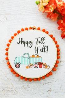 happy fall borduurring