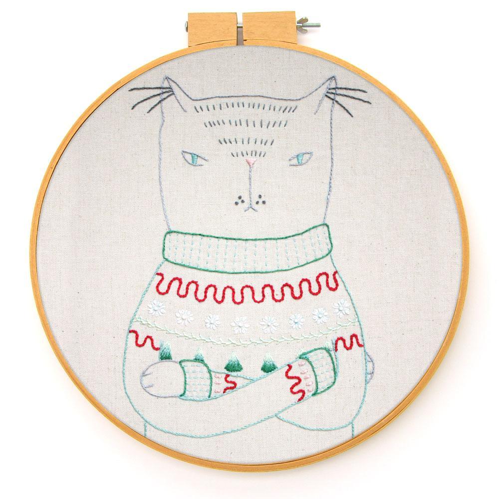Kersttrui Poes.Gratis Borduurpatroon Kat In Kersttrui Freubelweb Freubelweb