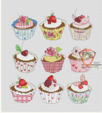 borduurpatroon cupcakes