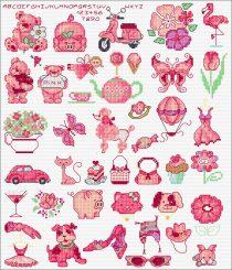 gratis borduurpatroon roze
