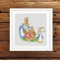 borduurpatroon konijntjes
