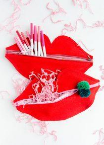 Zelf maken met stof Lippen etui